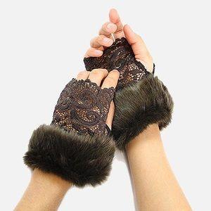 Faux Fur Lace Fingerless Gloves